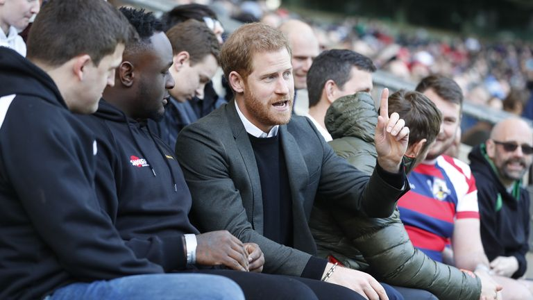 Prince Harry at the England rugby team's open training session ahead of their Six Nations match at Twickenham Stadium in 2018