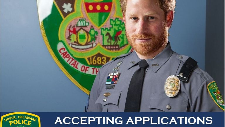 Prince Harry has been photoshopped into a job advert in Delaware