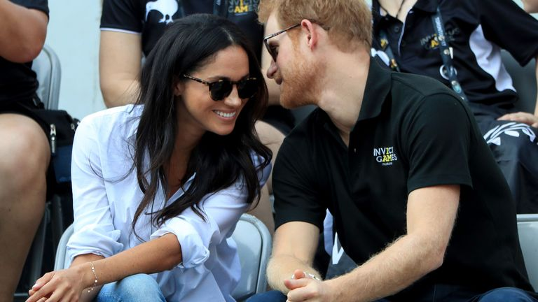 Prince Harry and Meghan watching Wheelchair Tennis at the 2017 Invictus Games in Toronto, Canada