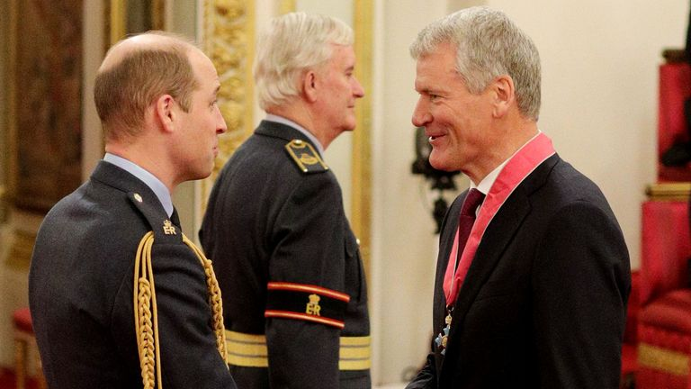 David Gill spoke to the prince while collecting a CBE at Buckingham Palace
