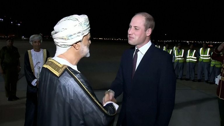 Haitham bin Tariq greets Prince William as he arrives in Oman for a visit in 2019