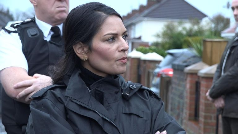 The home secretary joined the raids in Merseyside