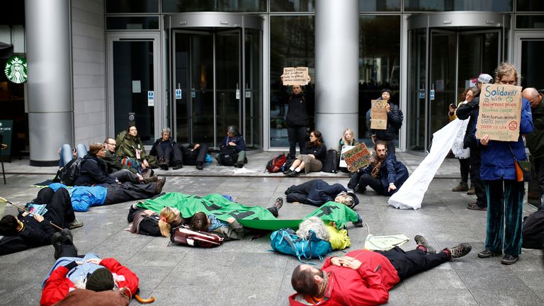 The climate activists targeted BlackRock for failing to take meaningful action on climate change