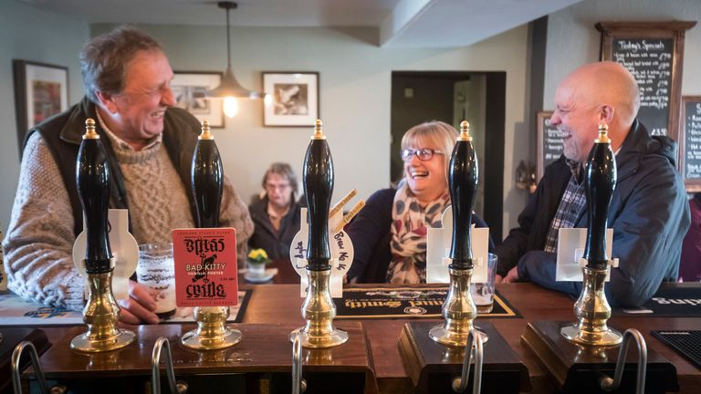 Customers at the George and Dragon pub in Hudswell, North Yorkshire, 2/3/2017