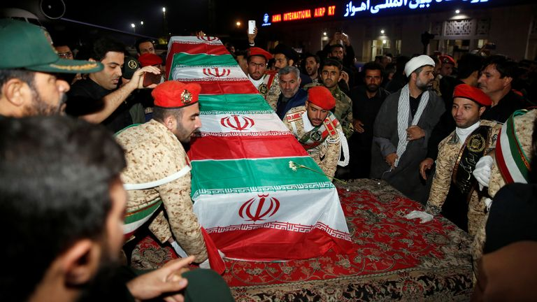 Soleimani's coffin in Ahvaz