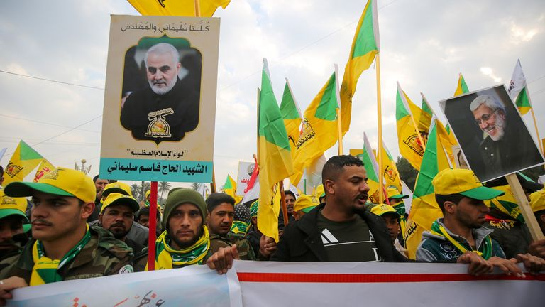 Supporters at General Soleimani's funeral in Baghdad