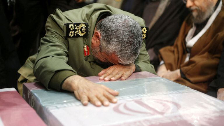 Brigadier General Esmail Ghaani, the newly appointed commander of the country's Quds Force, reacts during the funeral prayer of the coffins of Iranian Major-General Qassem Soleimani, head of the elite Quds Force, and Iraqi militia commander Abu Mahdi al-Muhandis