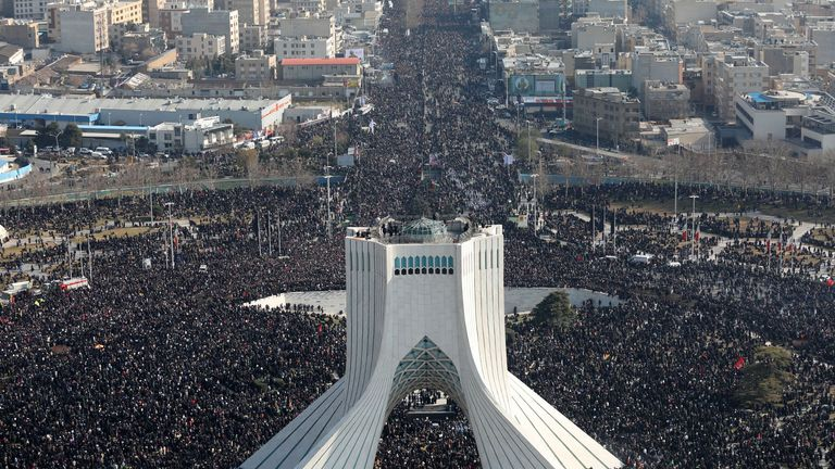An areal view of the Azadi tower during the funeral of Qassem Soleimani