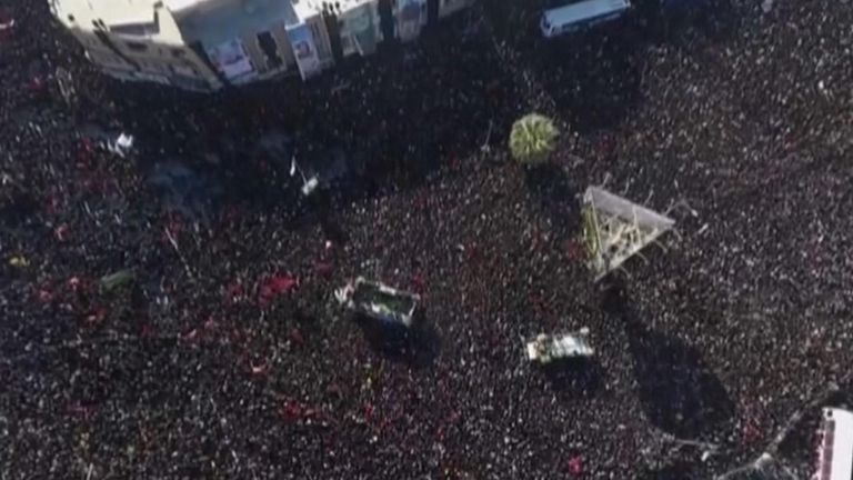 Thousands have turned out for the procession in the town of Kerman