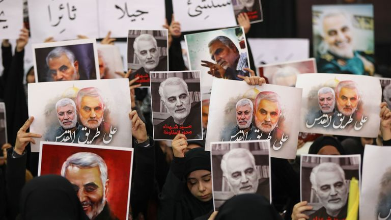 Hezbollah supporters mourn Qassem Soleimani