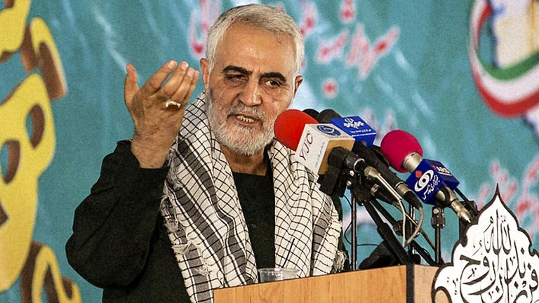 Major General Qassem Soleimani speaking at a press conference, Hamadan, Iran in 2018. Pic: AY Collection/SIPA/Shutterstock