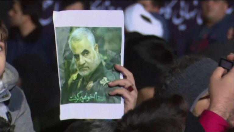 Hundreds of mourners gathered at the airport of Iran's capital Tehran to mourn the Qassem Soleimani, who was killed in Iraq by a US military strike.