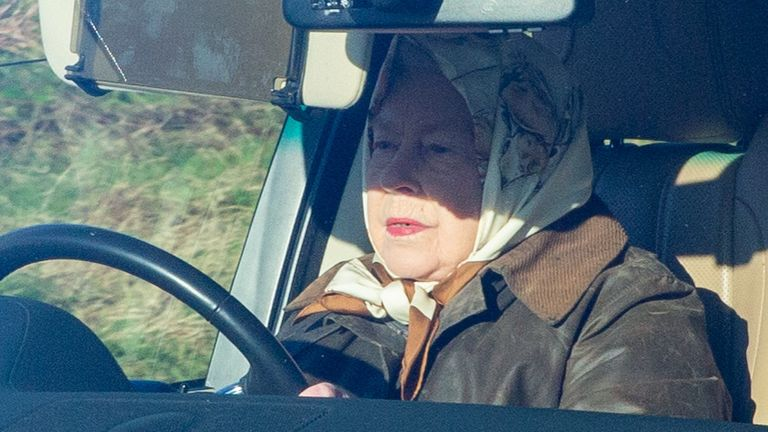 The Queen driving near Sandringham. Pic: Geoff Robinson