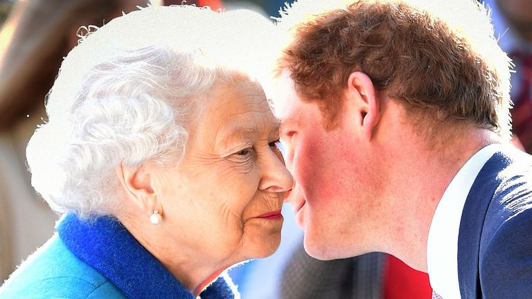 The Queen being greeted by her grandson the Duke of Sussex