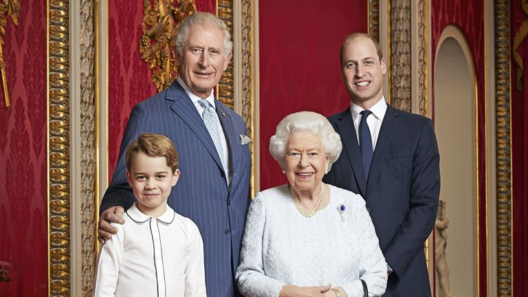 Prince Charles, Prince William, Prince George and the Queen.