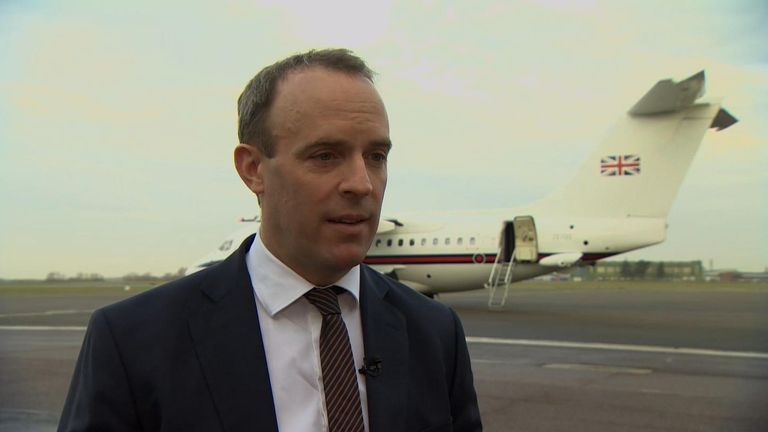 Foreign sec Dominic Raab on the UK's approach to rising tensions in the Middle East.