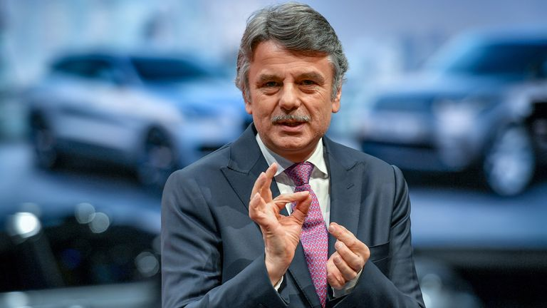 Jaguar Land Rover CEO, Ralf Speth delivers a speech during the first press day of the Geneva International Motor Show on March 6, 2018 in Geneva
