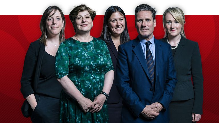 Labour leadership candidates (left to right) Jess Phillips, Emily Thornberry, Lisa Nandy, Sir Keir Starmer and Rebecca Long-Bailey