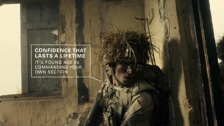 The army has unveiled its latest recruiting campaign for 2020. This year's campaign focuses on the unique and lifelong confidence that an Army career offers, in contrast to the short-lived confidence found in modern society. Pic: MOD