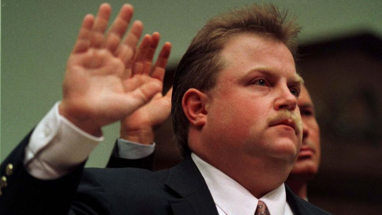Richard Jewell is sworn in prior to his testimony before the House Judiciary Committee July 30 1997. Jewell said the FBI tried to publicly humiliate him when he was a suspect in the Atlanta bombing during the summer Olympic Games last year and asked the lawmakers to find out why