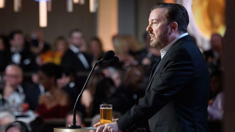 Golden Globes 2020 host Ricky Gervais. Pic: HFPA/HANDOUT/EPA-EFE/Shutterstock