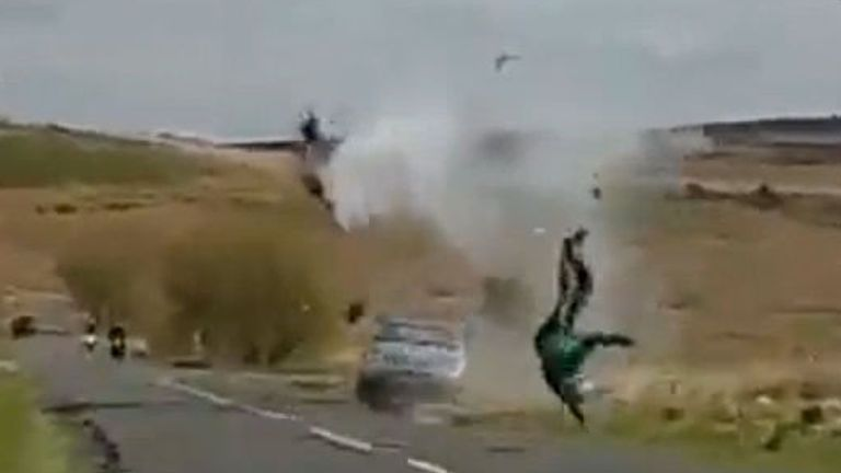 The experienced rider was catapulted through the air following the horror collision