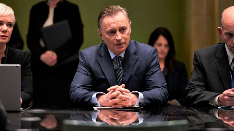 Robert Carlyle stars as prime minister Robert Sutherland in COBRA. Pic: Sky UK