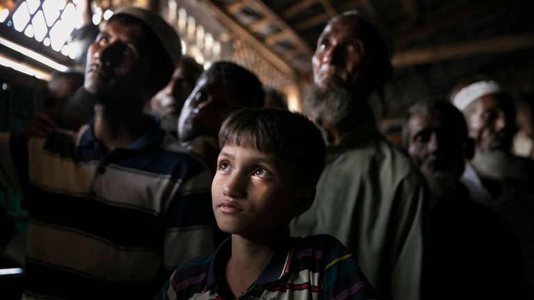 The refugees are now living in crowded camps across the border in Bangladesh