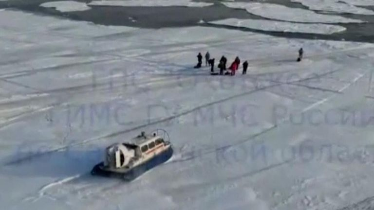 Russian emergency services rescued 536 ice fishermen after they got stranded on a giant ice floe that broke off in eastern Siberia.