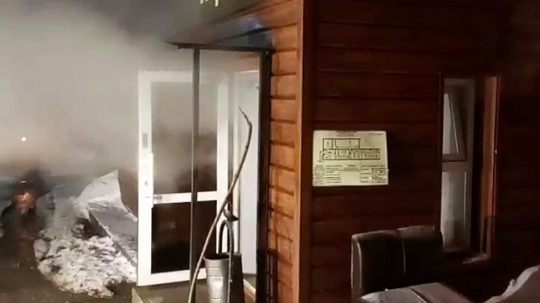 The Mini Hotel Caramel, where five people died after a hot water pipe exploded in the night, flooding a basement. Pic: Russian Emergencies Ministry