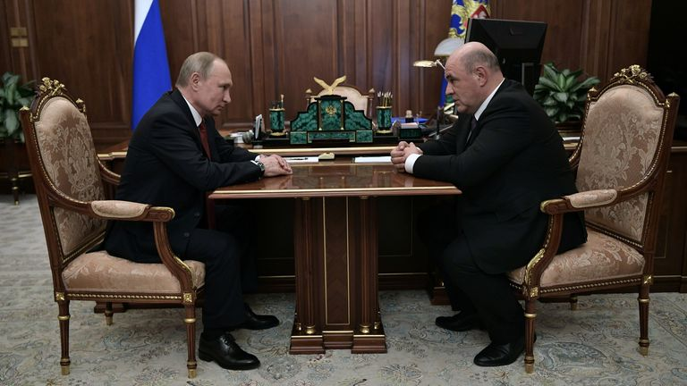 Vladimir Putin attends a meeting with his new prime minister Mikhail Mishustin