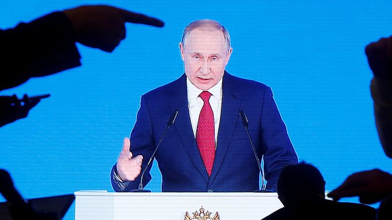 Vladimir Putin delivering his annual state of the nation address in Moscow on Wednesday