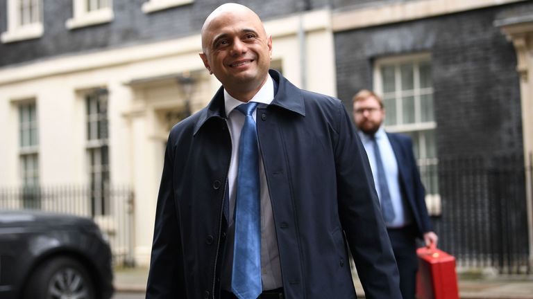 Sajid Javid leaves Downing Street, London, after the first Cabinet meeting of the year