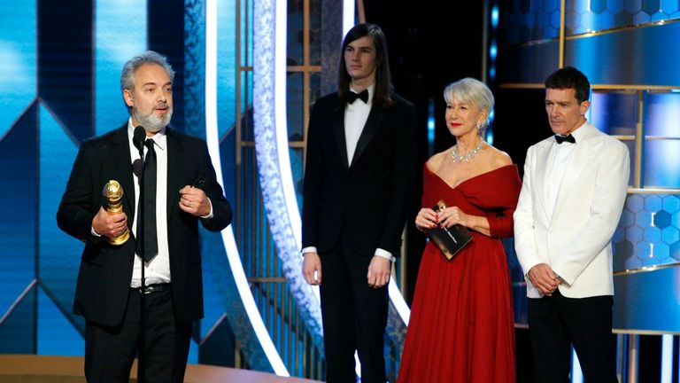 Best director Sam Mendes accepts his award for 1917 at the Golden Globes