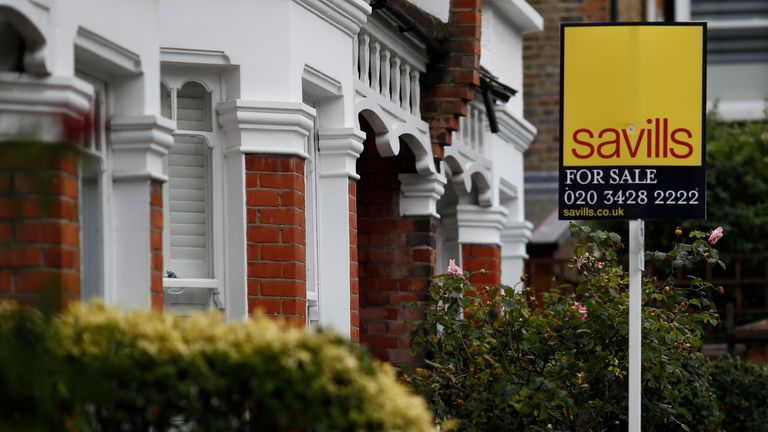 A Savills property estate agent sign is displayed outside a home in south London 21/9/2016