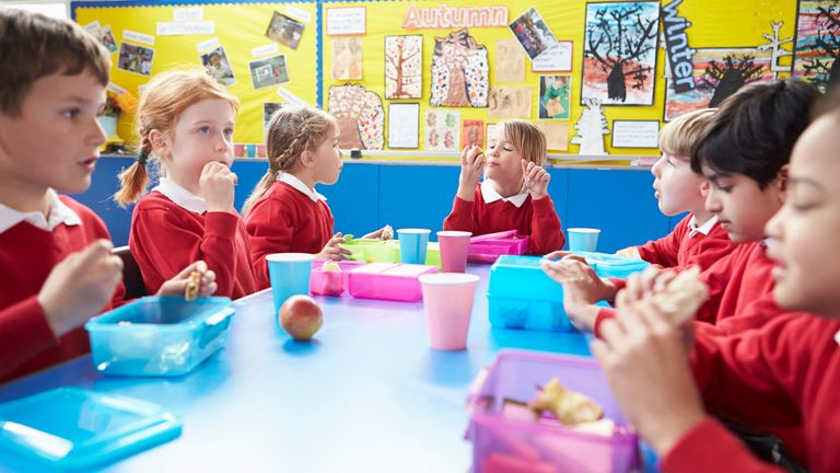 Description Schoolchildren Sitting At Table Eating Packed Lunch