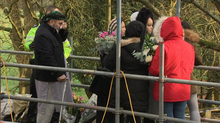 Mr Subhani's family lay flowers near the area where his body was found by Hedgerley Lane, Beaconsfield