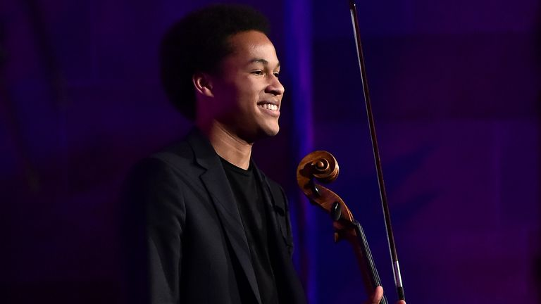 Classical cellist, performer Sheku Kanneh-Mason performs at The T.J. Martell Foundation 43rd New York Honors Gala at Cipriani 42nd Street on October 15, 2018 in New York City