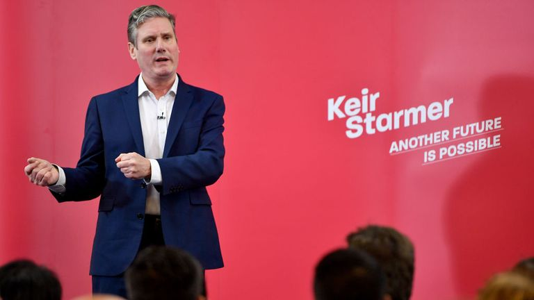 MANCHESTER, ENGLAND - JANUARY 11: Labour MP Sir Keir Starmer speaks at the Mechanics Institute, best known as the birthplace of the British Trade Union Congress, as he launches his leadership campaign on January 11, 2020 in Manchester, England. (Photo by Anthony Devlin/Getty Images)