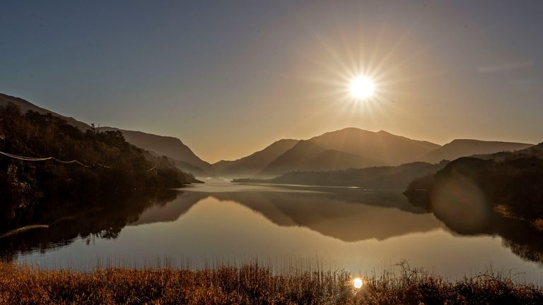 Lake Padarn, which forms part of the slate landscape of Northwest Wales