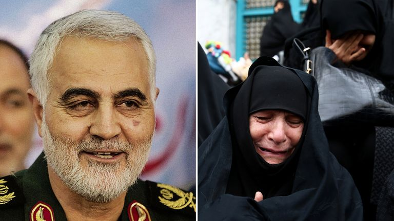 Hundreds of thousands of mourners have attended a funeral procession for Maj Gen Soleimani in Iran