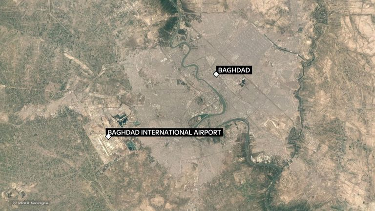 Maj Gen Soleimani's was struck on a road near Baghdad International Airport