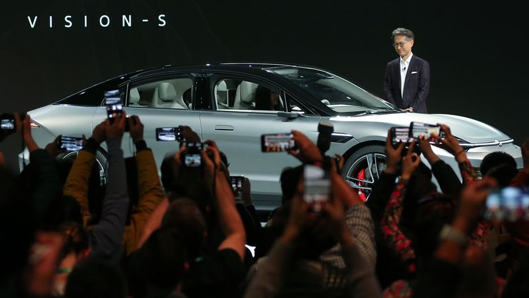 Sony President and CEO Kenichiro Yoshida unveils the Sony Vision-S electric concept car