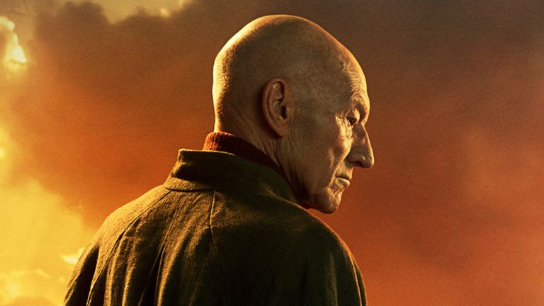 Patrick Stewart as Jean-Luc Picard, boldly going where no man has gone before