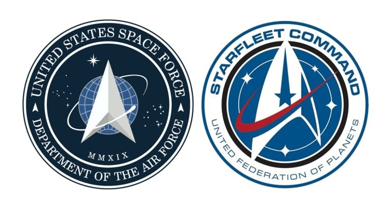 The Space Force Logo (L) looks uncannily similar to the StarFleet Command United Federation of Planets logo. Pic: White House/CBS