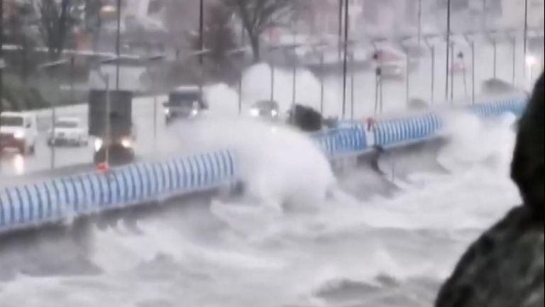 Motorists in Carrickfergus were advised not to use the coastal road due to severe waves crashing into the seawall