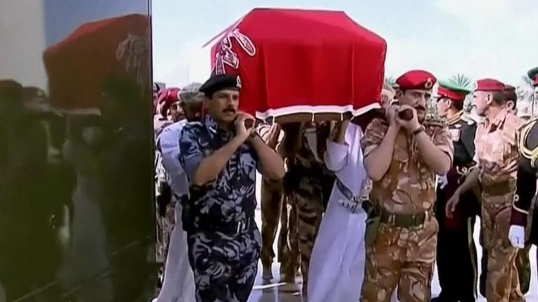Oman's Sultan Qaboos bin Said is conveyed in a coffin during his funeral proceedings