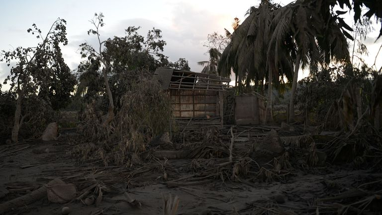 A general view of a destroyed house and trees covered with mud following the eruption