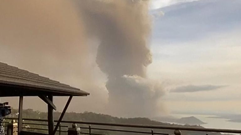 Small volcano in Philippines spews out ash
