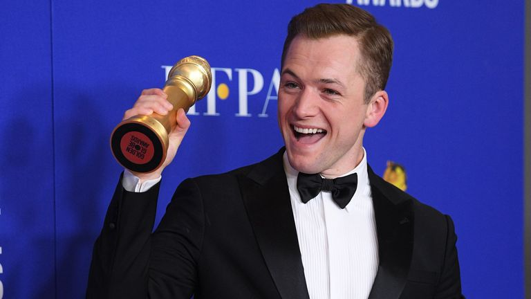 Taron Egerton at the Golden Globes